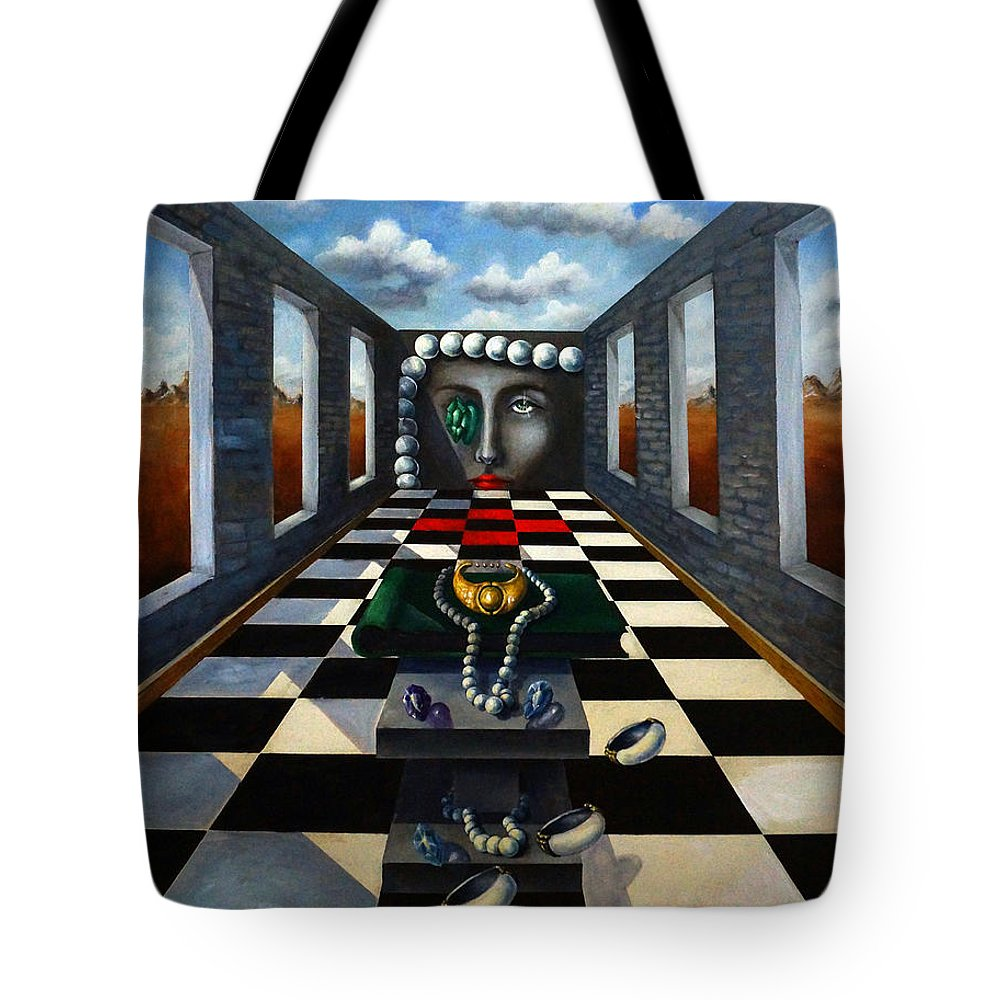 Surreal Landscape Tote Bag featuring the painting Family Jewels by Valerie Vescovi
