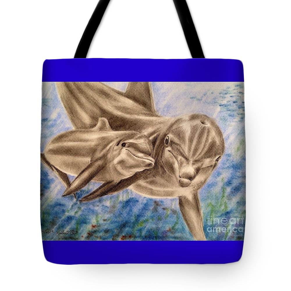 Dolphin Tote Bag featuring the drawing Family by Keiko Olds
