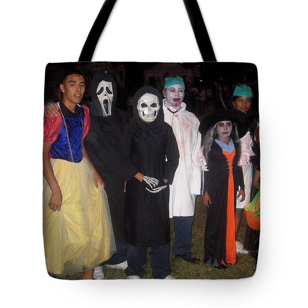 Family Of Ghouls Halloween Party Casa Grande Arizona 2005 Tote Bag featuring the photograph Family Of Ghouls Halloween Party Casa Grande Arizona 2005 by David Lee Guss