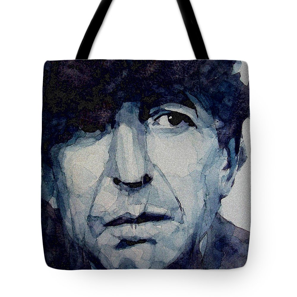 Leonard Cohen Tote Bag featuring the painting Famous Blue Raincoat by Paul Lovering