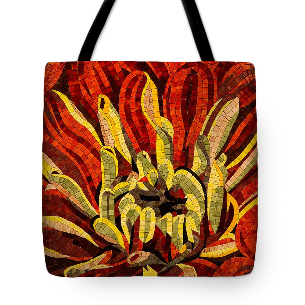 Fanciful Tote Bag featuring the photograph Fanciful Bold Floral Mosaic by Georgia Mizuleva