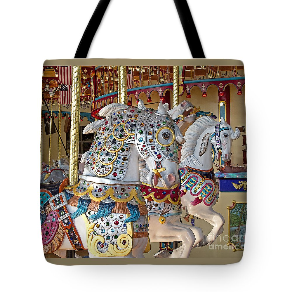 Carousel Tote Bag featuring the photograph Fanciful Carousel Ponies by Ann Horn