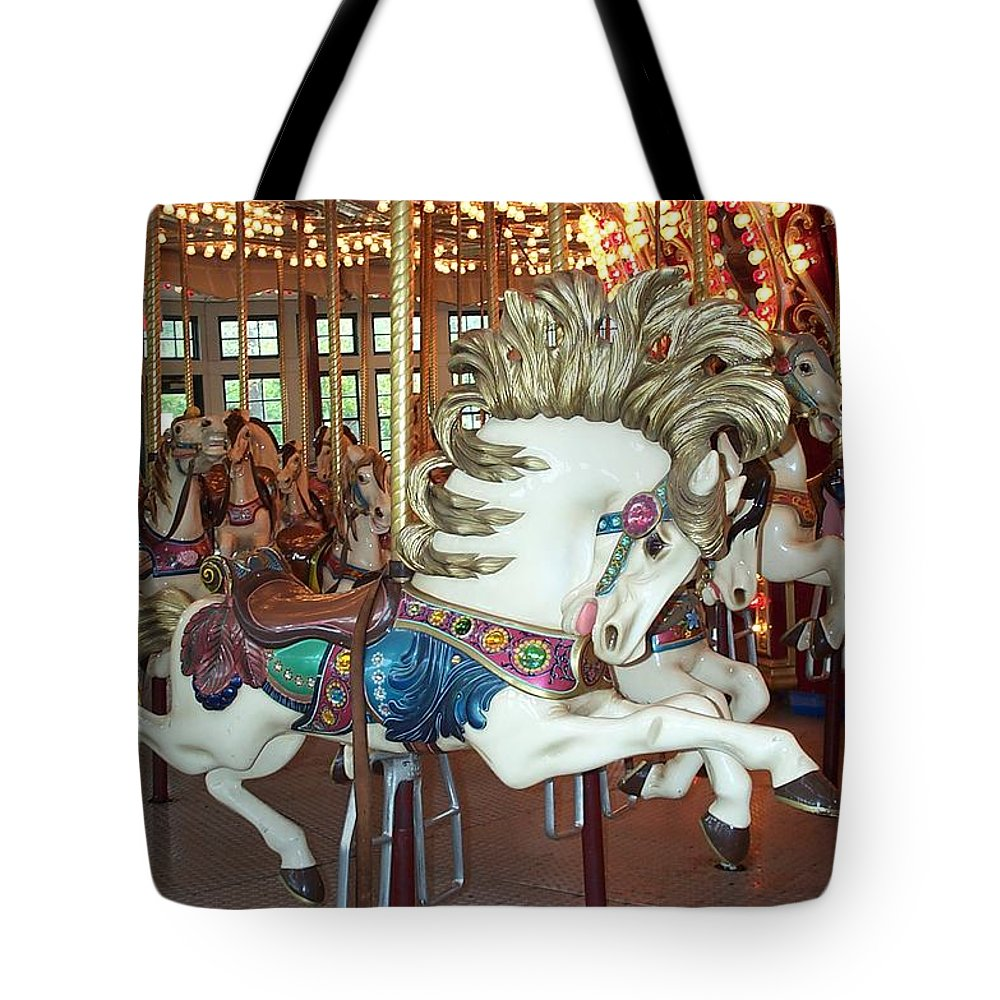 Carousel Tote Bag featuring the photograph Fancy Flashy Pony -ri by Barbara McDevitt