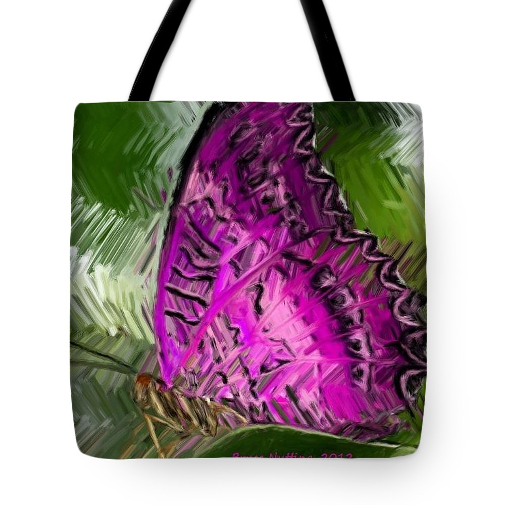 Butterfly Tote Bag featuring the painting Fantasy Butterfly by Bruce Nutting