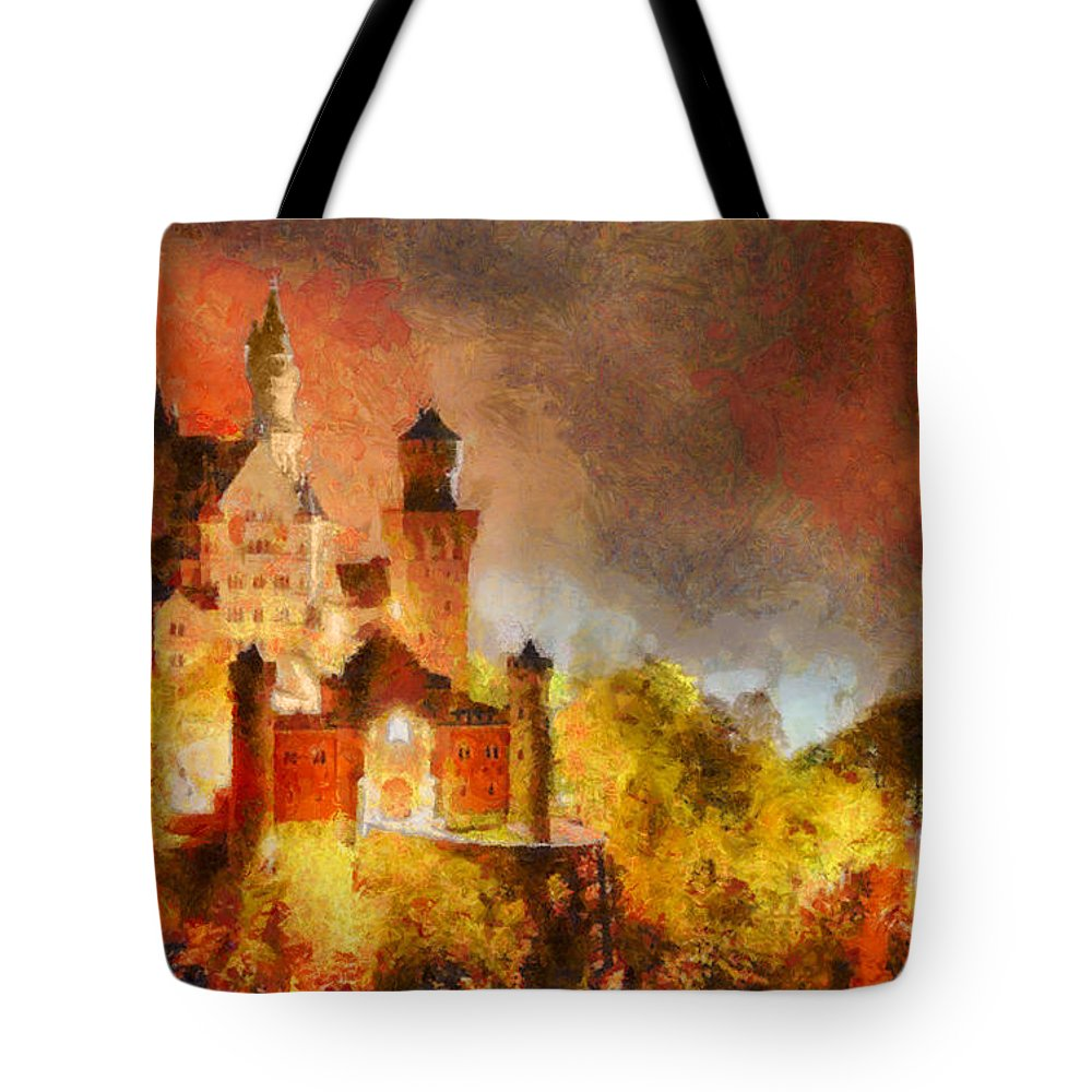 Rossidis Tote Bag featuring the painting Fantasy Castle by George Rossidis