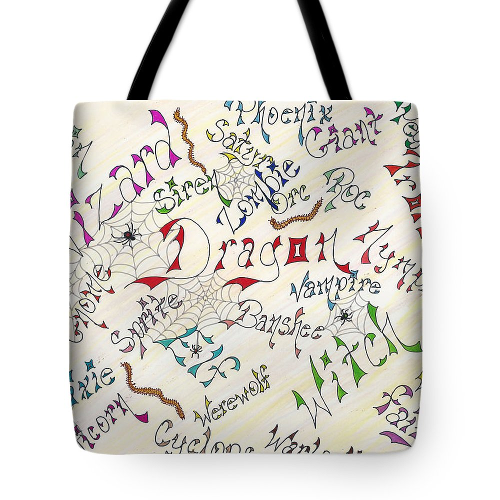 Pen Tote Bag featuring the drawing Fantasy Creatures by Bertie Edwards