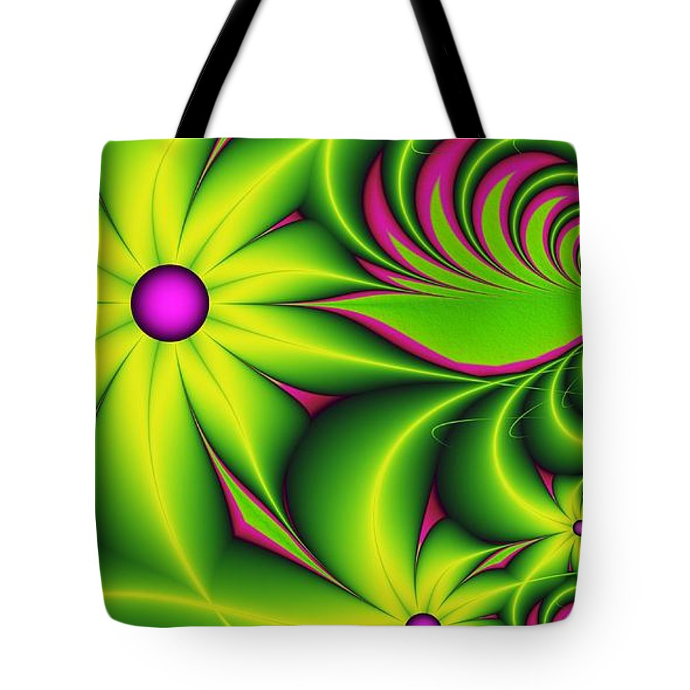 Fractal Tote Bag featuring the digital art Fantasy Flowers by Gabiw Art