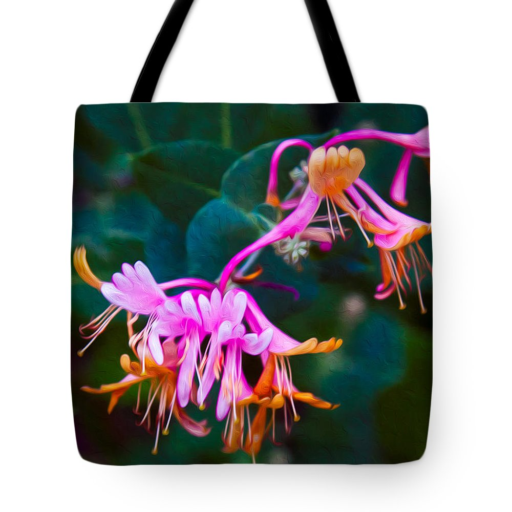 North Cascades Tote Bag featuring the painting Fantasy Flowers by Omaste Witkowski