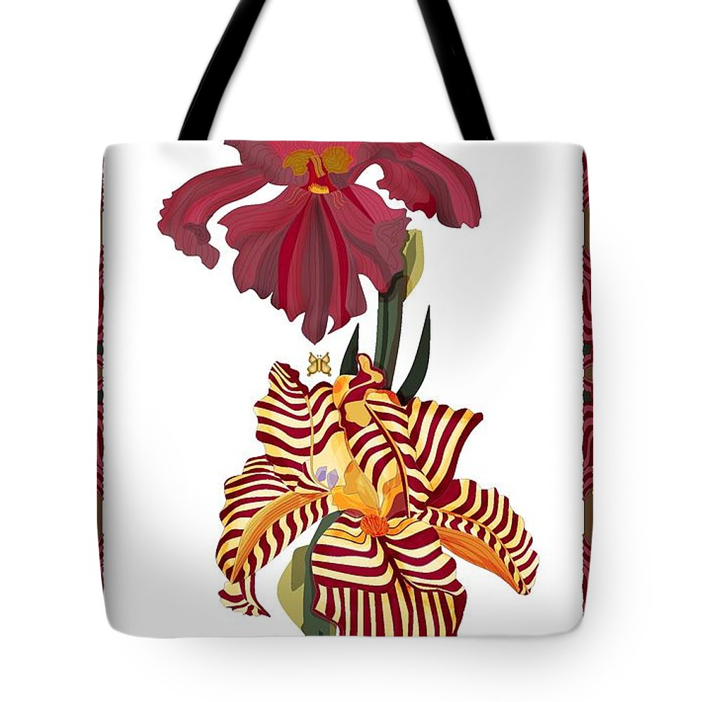 Iris. Tote Bag featuring the painting Fantasy Iris July 2013 by Anne Norskog