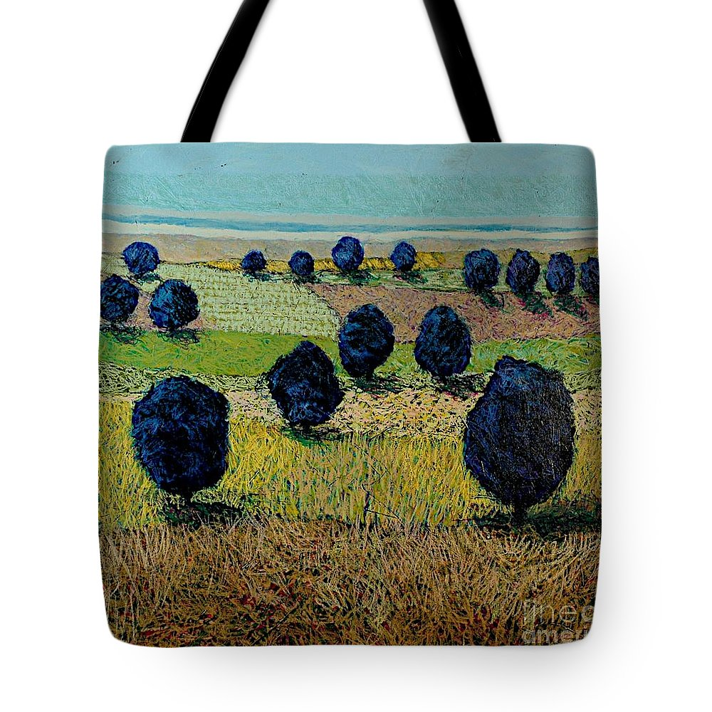 Landscape Tote Bag featuring the painting Faraway Field by Allan P Friedlander