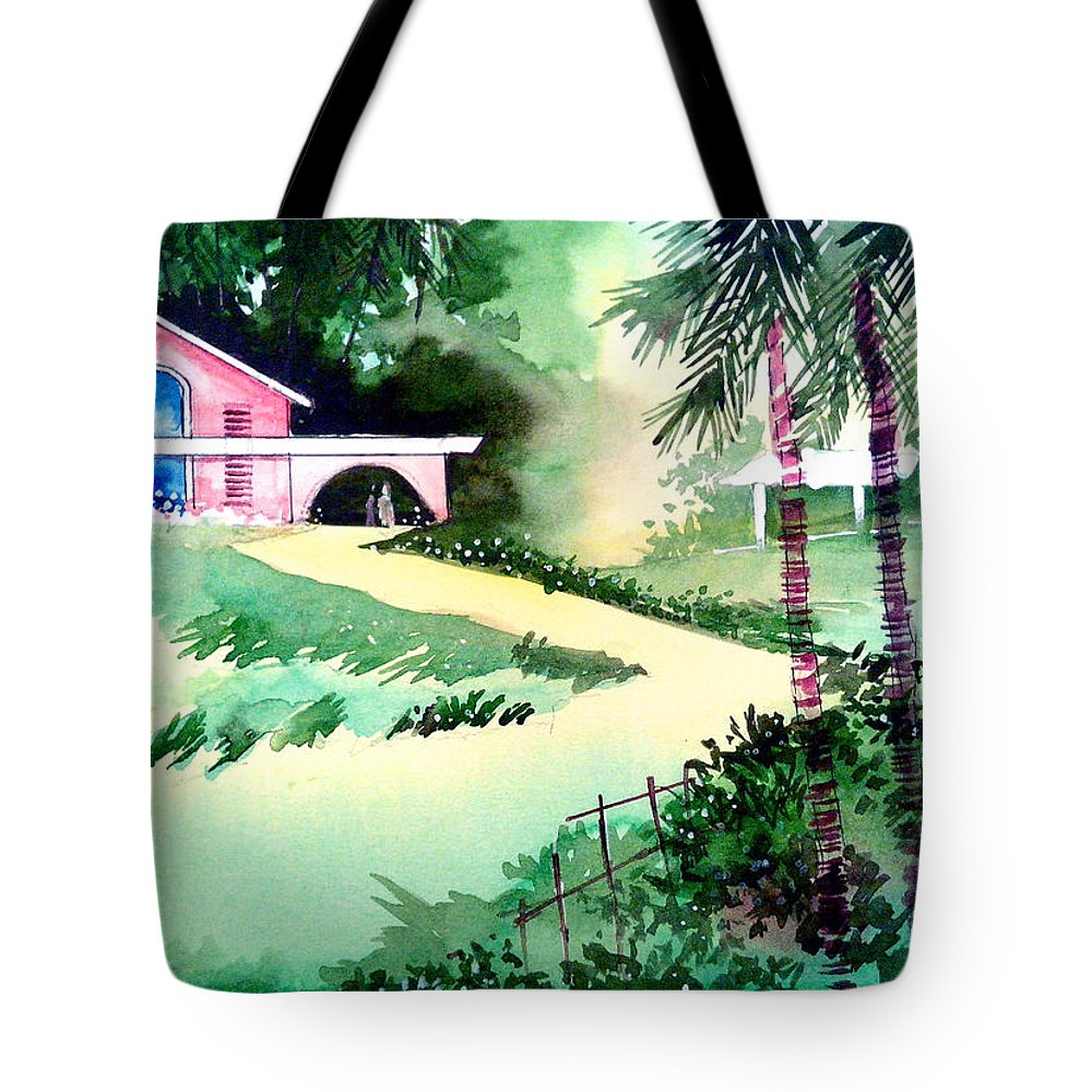 Valentine Tote Bag featuring the painting Farm House New by Anil Nene