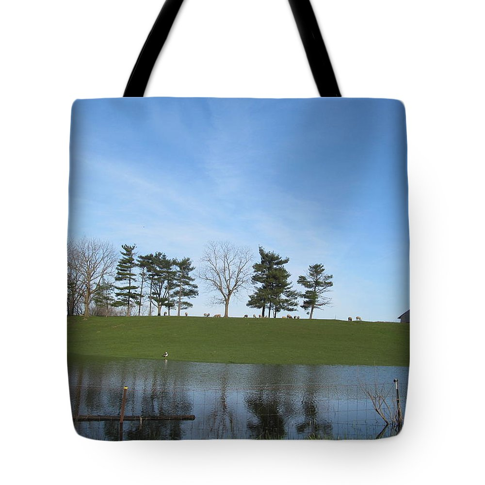 Farm Tote Bag featuring the photograph Farm Sky And Pond by Tina M Wenger