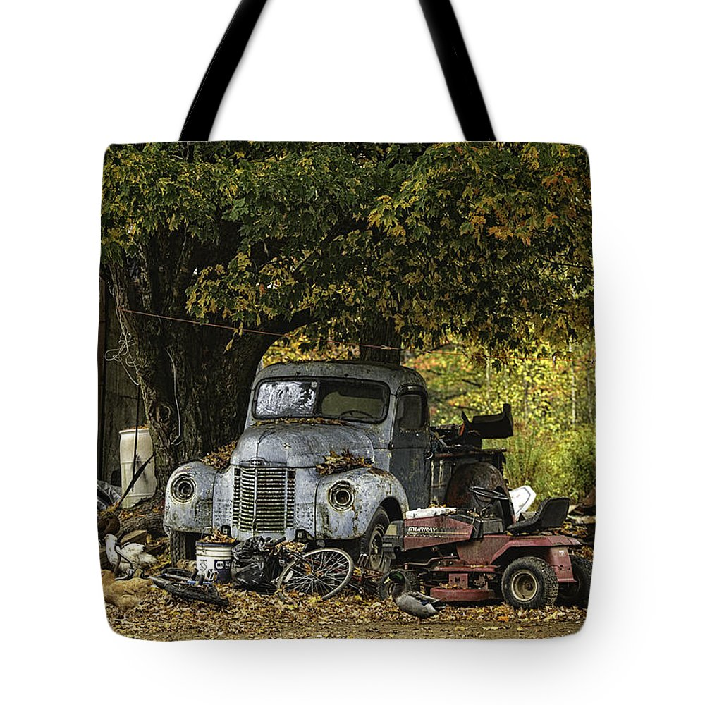 Antique Tote Bag featuring the photograph Farm Yard by Lisa Bryant