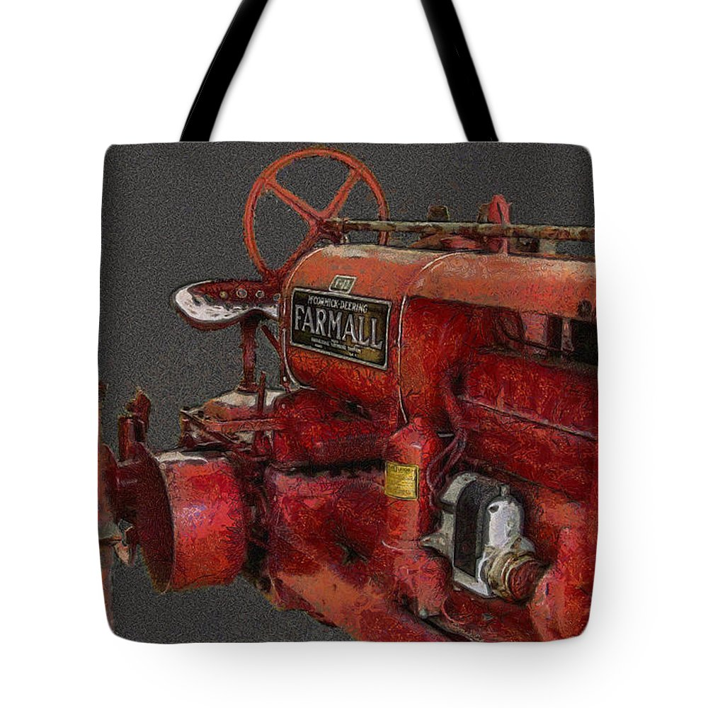 Farmall Tractor Tote Bag featuring the digital art Farmall Tractor by Ernie Echols