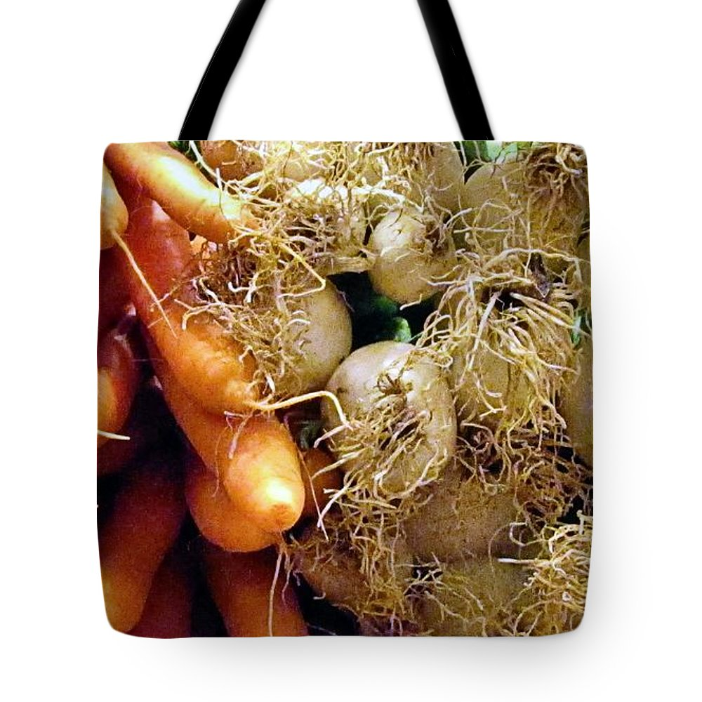 Carrots Tote Bag featuring the photograph Farmers Market by Jennifer Wheatley Wolf