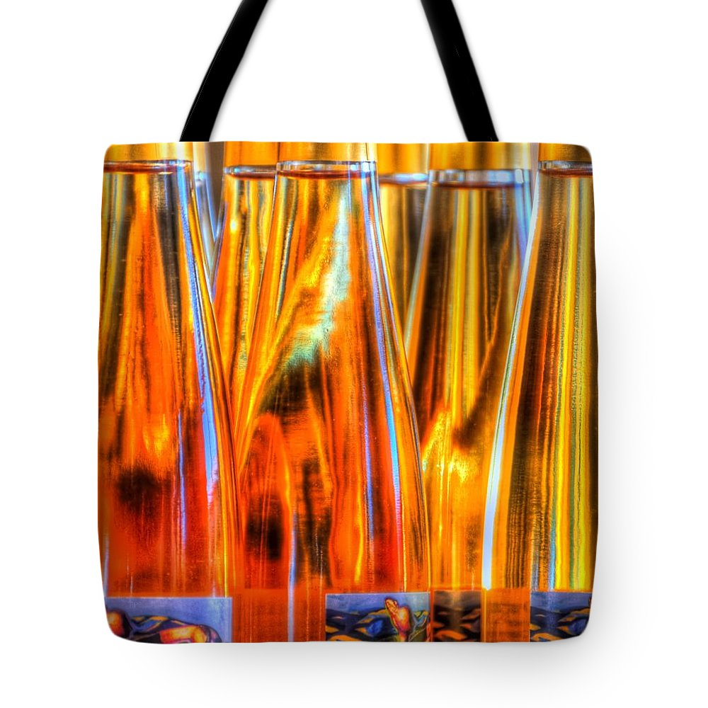 Monterey Tote Bag featuring the photograph Farmers Market Wine Bottles 19770 2 by Jerry Sodorff