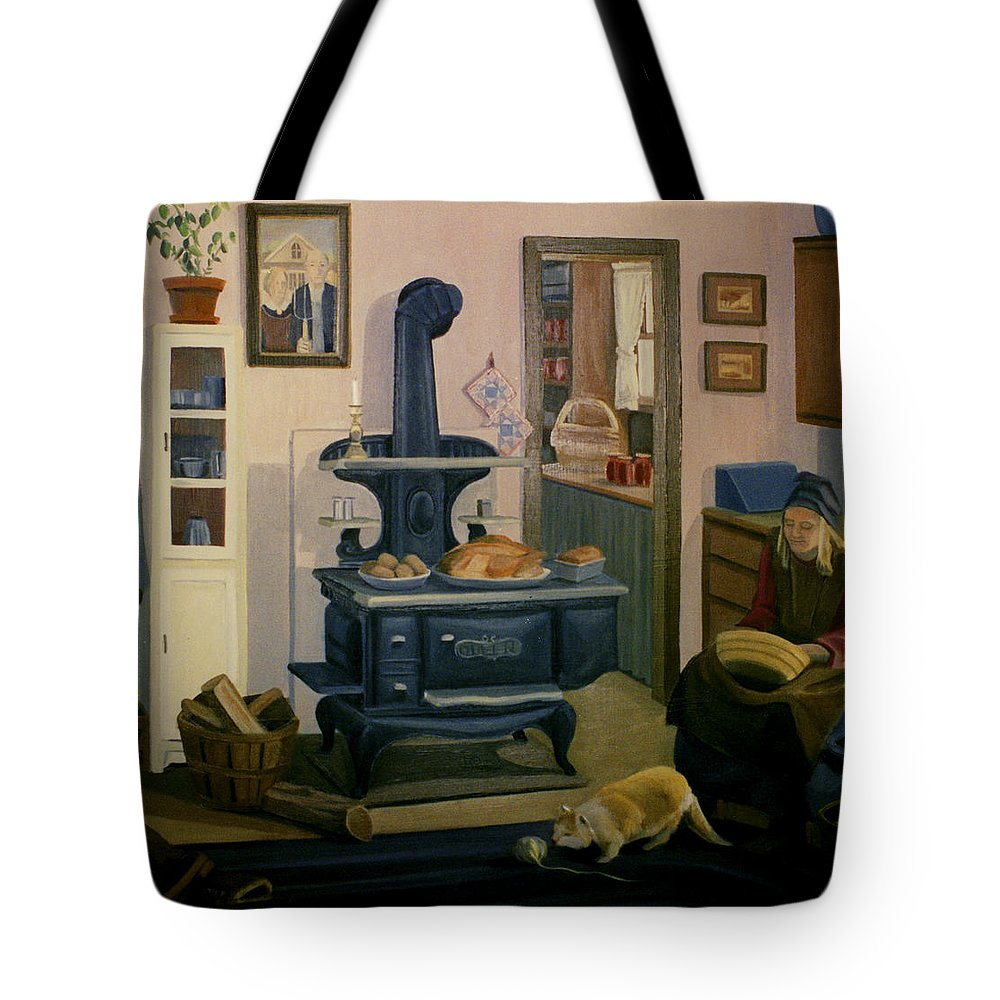 Farm Tote Bag featuring the painting Farmhouse In Autumn 1990 by Nancy Griswold