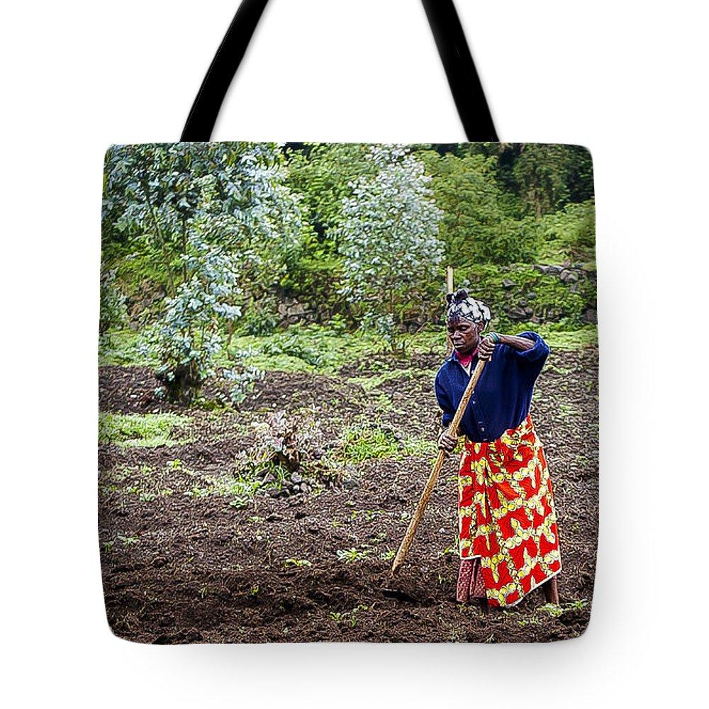 Rwanda Tote Bag featuring the photograph Farmlady by Paul Weaver