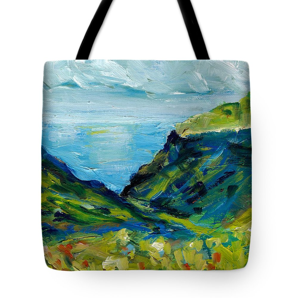 Denmark Scan Tote Bag featuring the painting Faroe Islands Study 3 by Julie Galante