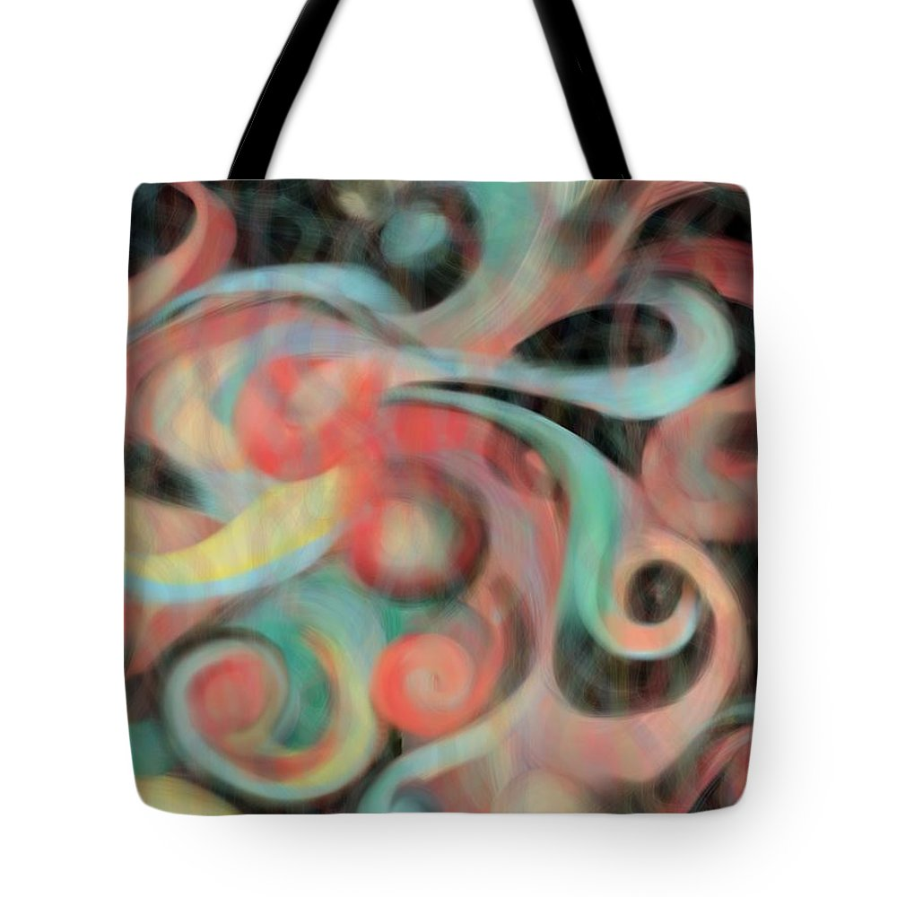 Abstract Tote Bag featuring the painting Fascination by Christine Fournier