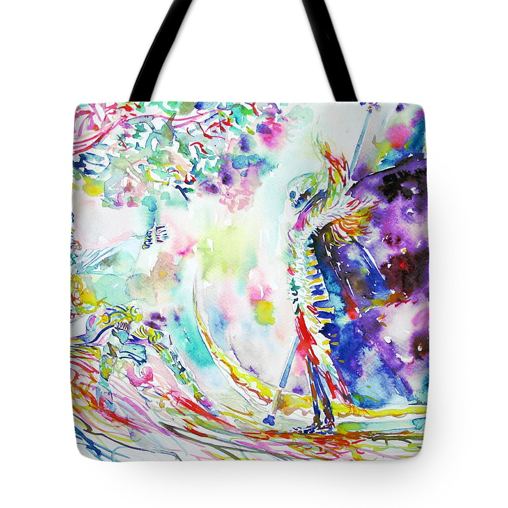 Lady Tote Bag featuring the painting Fashion Lady And Death Under A Tree by Fabrizio Cassetta