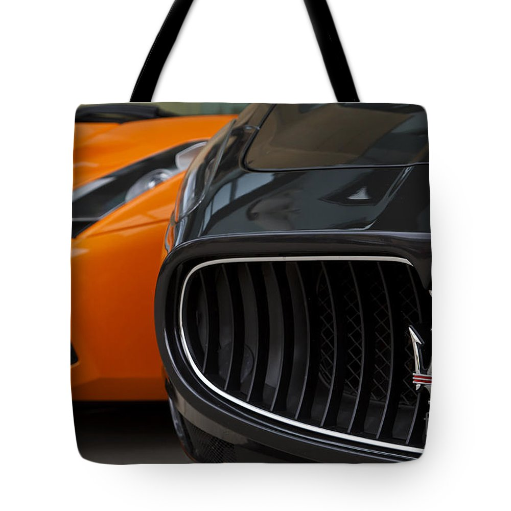 Lamborghini Gallardo Tote Bag featuring the photograph Fast Company by Dennis Hedberg
