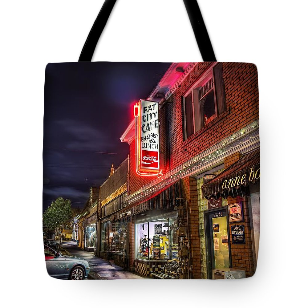 Fat Tote Bag featuring the photograph Fat City Cafe by Doc Braham