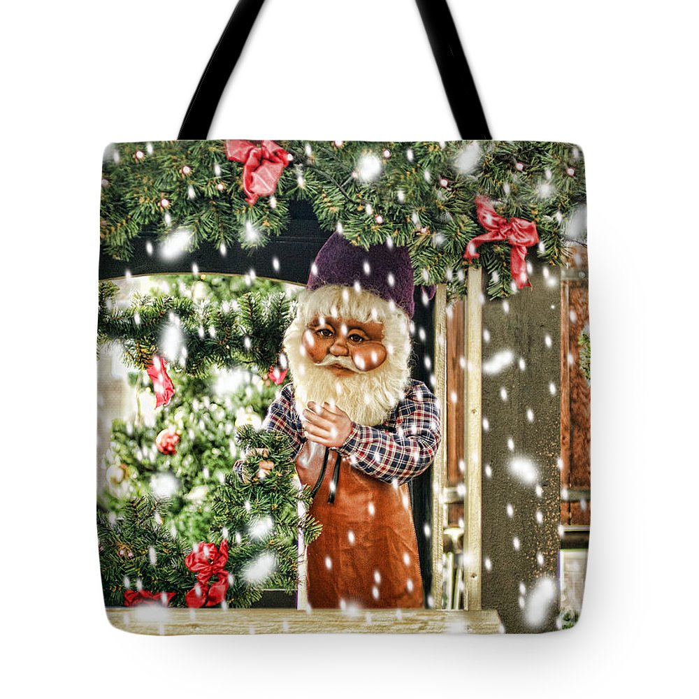 Christmas Tote Bag featuring the photograph Father Christmas In The Snow by Bridget Jones
