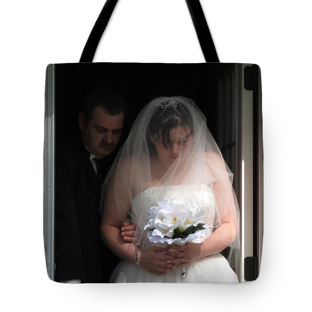 Weddings Tote Bag featuring the photograph Father Daughter Thoughts by Fortunate Findings Shirley Dickerson