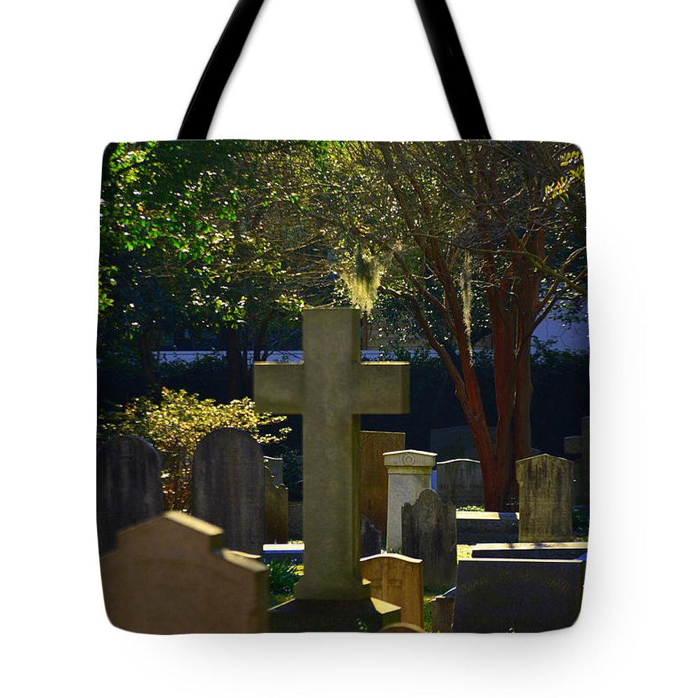 St. Philip's Episcopal Church Cemetery Tote Bag featuring the photograph Father Son And Holy Spirit by Lisa Wooten