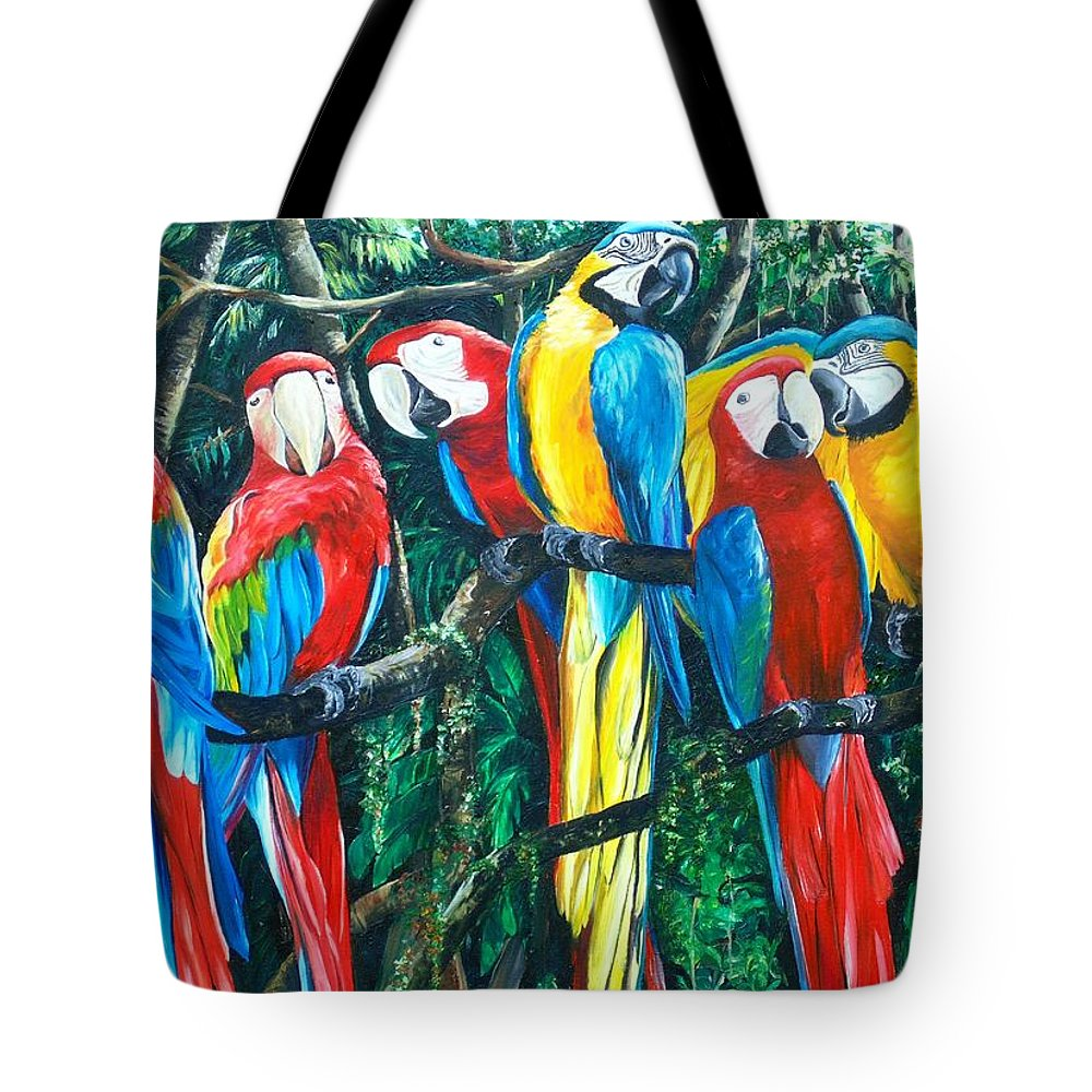 Macaw Painting Bird Paintings Feather Painting Rain Forest Painting Colorful Parrot Painting Blue And Gold Macaw Painting Bird Painting Green Wing Macaw Painting Caribbean Paintings Tropical Paintings Colorful Paintings  Canvas Prints Paintings Greeting Card Paintings Poster Prints Paintings Tote Bag featuring the painting Featherd Bff by Karin Dawn Kelshall- Best