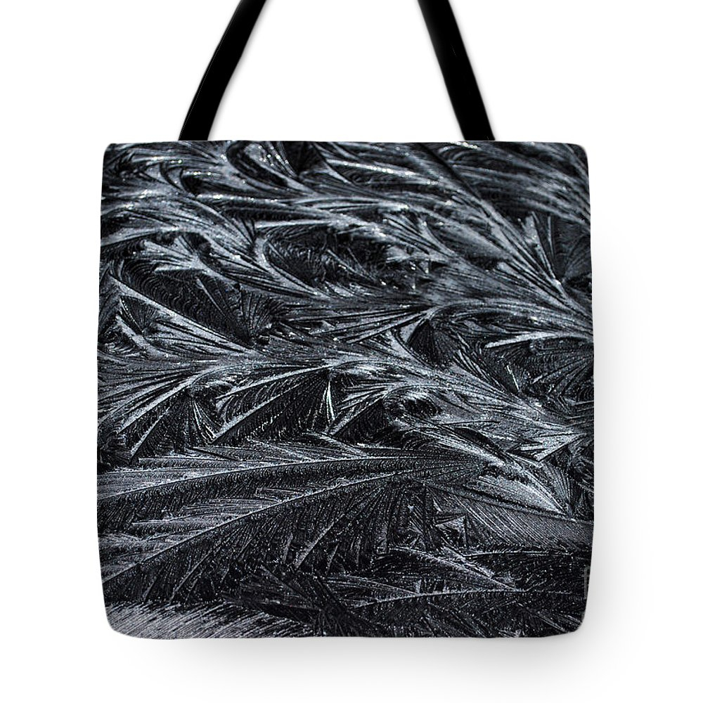 Ice Tote Bag featuring the photograph Feathered Ice by Judy Wolinsky