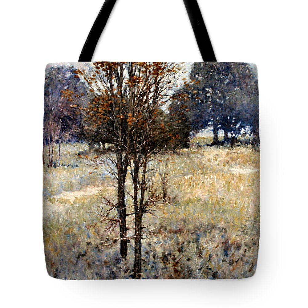 Landscape Tote Bag featuring the painting Feathery Field by Kevin Lawrence Leveque
