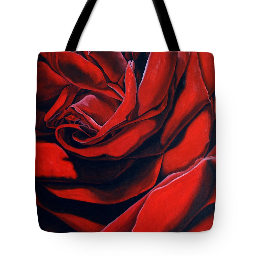 Rose Tote Bag featuring the painting February Rose by Thu Nguyen