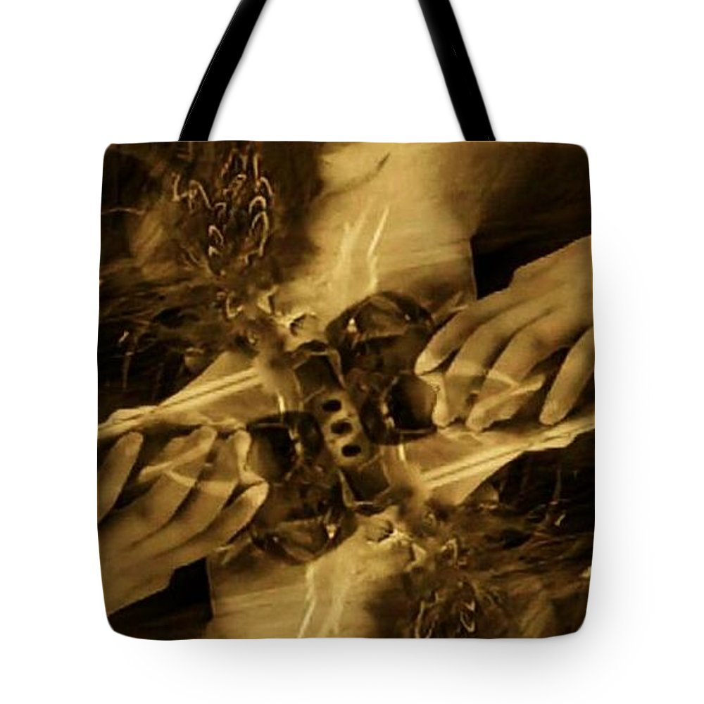 Sepia Tote Bag featuring the photograph Feed The Beast by Jessica Shelton