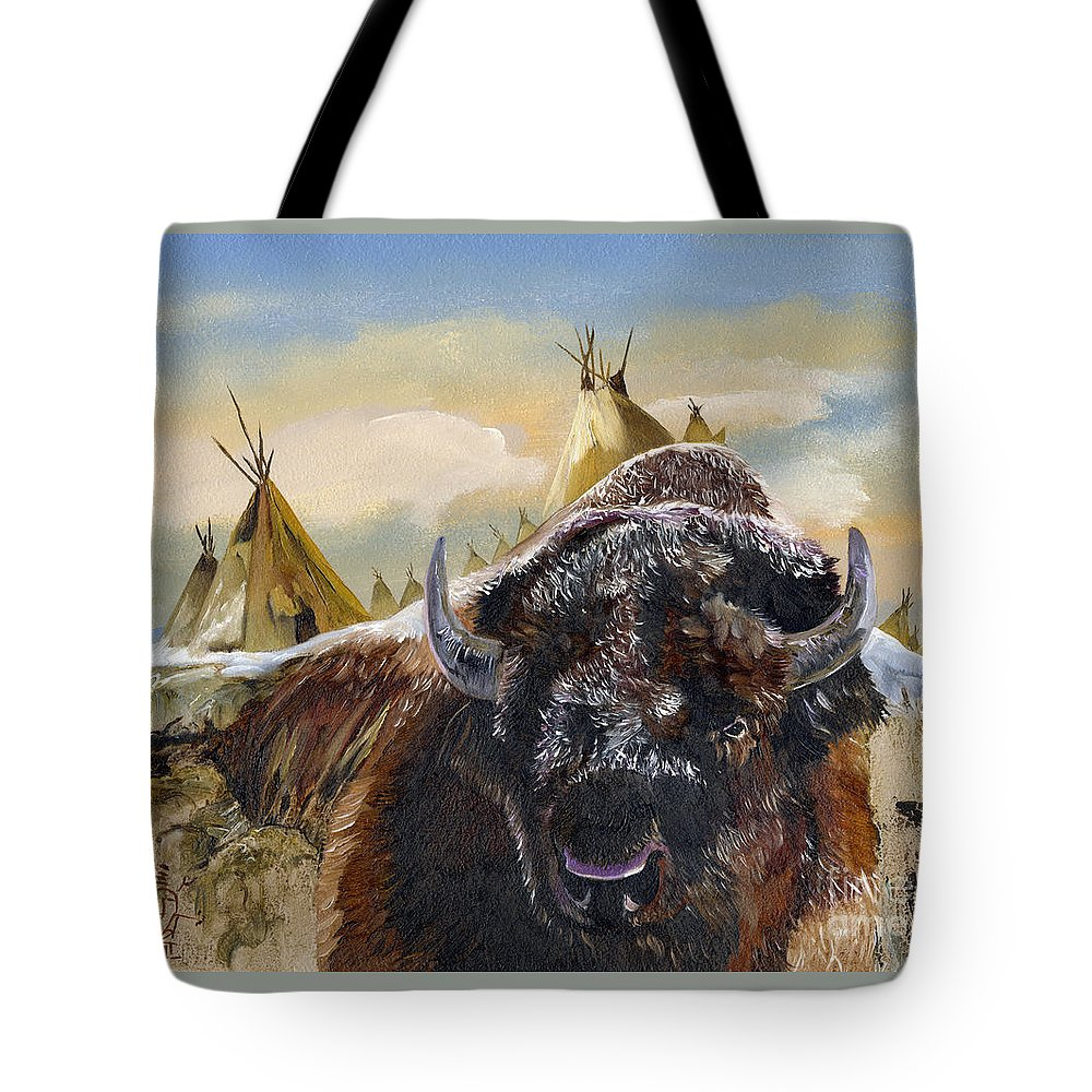 Bison Tote Bag featuring the painting Feed The Fire by J W Baker