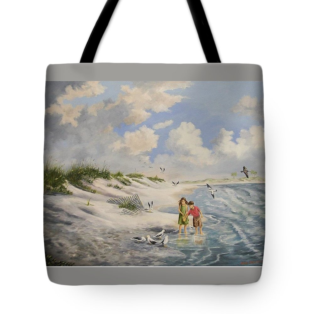 2 Children Tote Bag featuring the painting Feeding The Wildlife by Wanda Dansereau