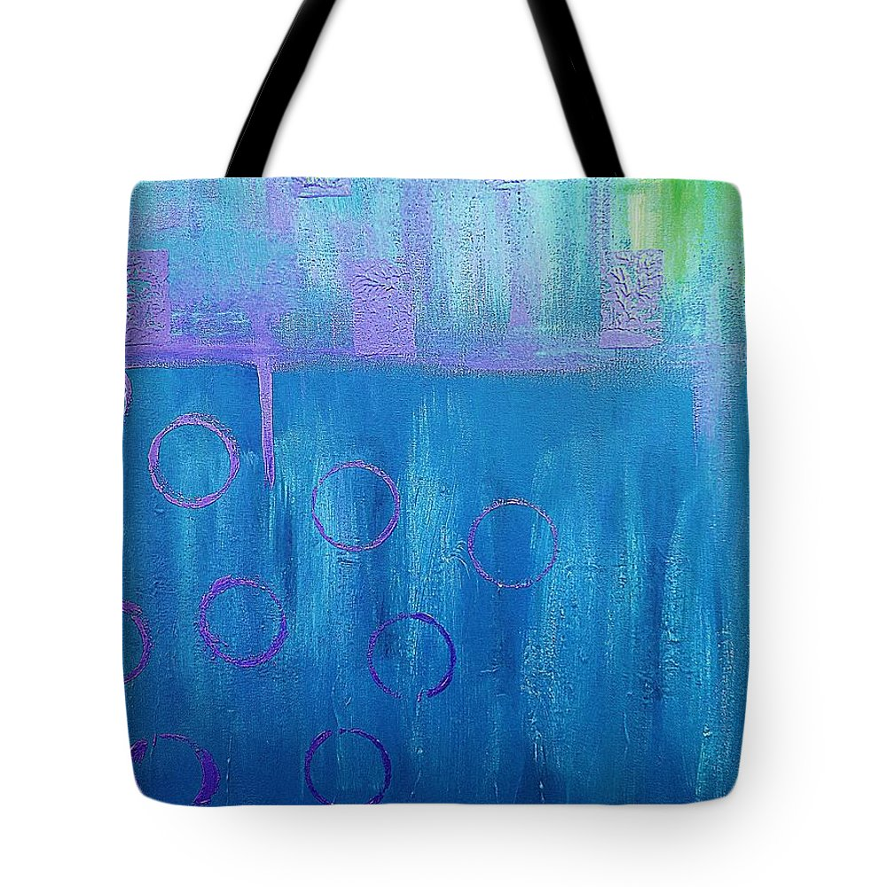 Abstract Art Tote Bag featuring the painting Feeling Blue Abstract by Saundra Myles