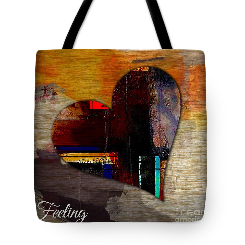 Heart Mixed Media Tote Bag featuring the mixed media Feeling by Marvin Blaine