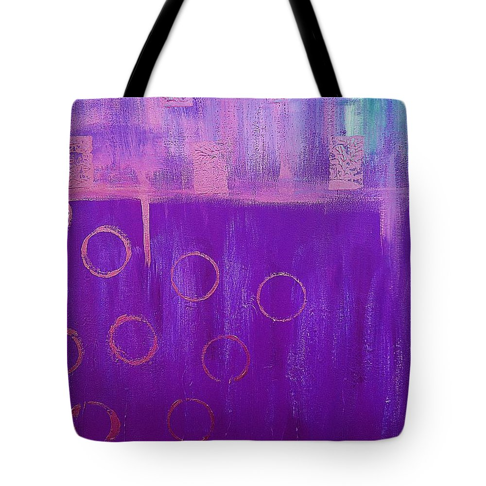 Abstract Tote Bag featuring the painting Feeling Purple Abstract by Saundra Myles