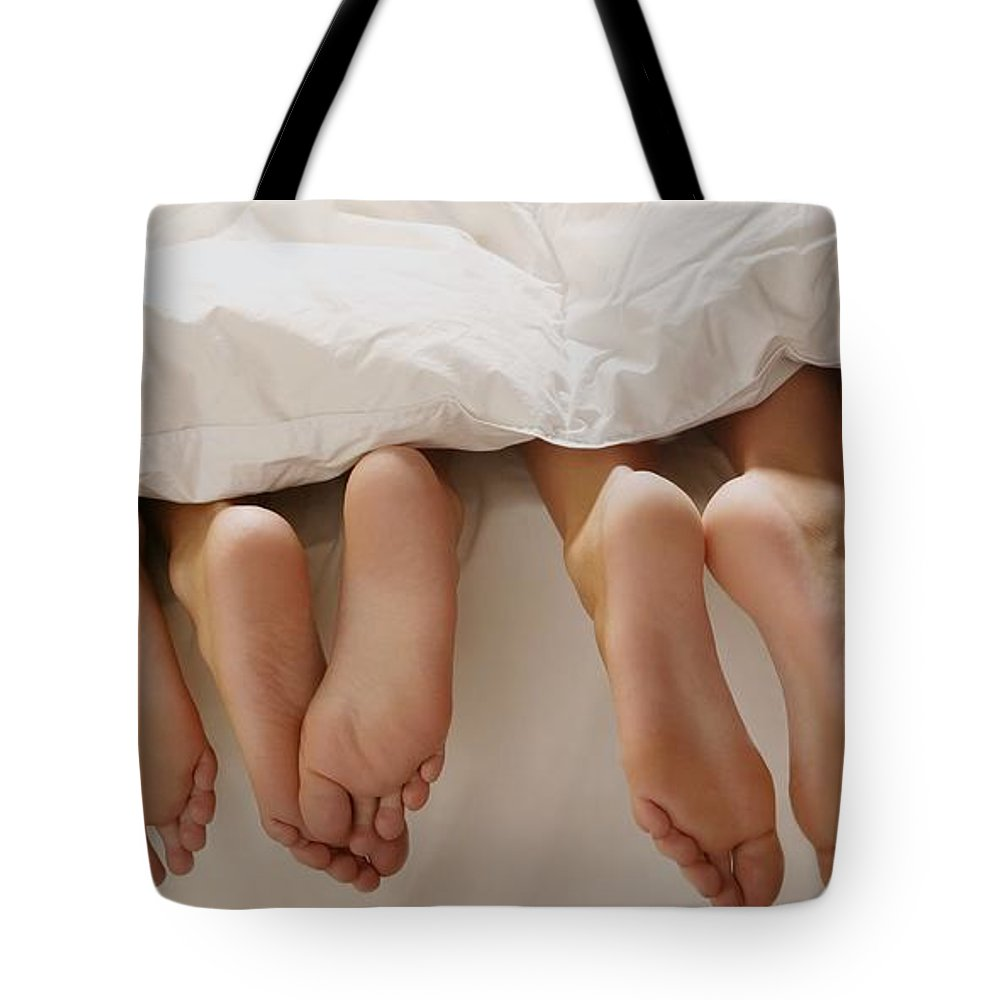 Home Tote Bag featuring the photograph Feet In Bed by Leah Hammond