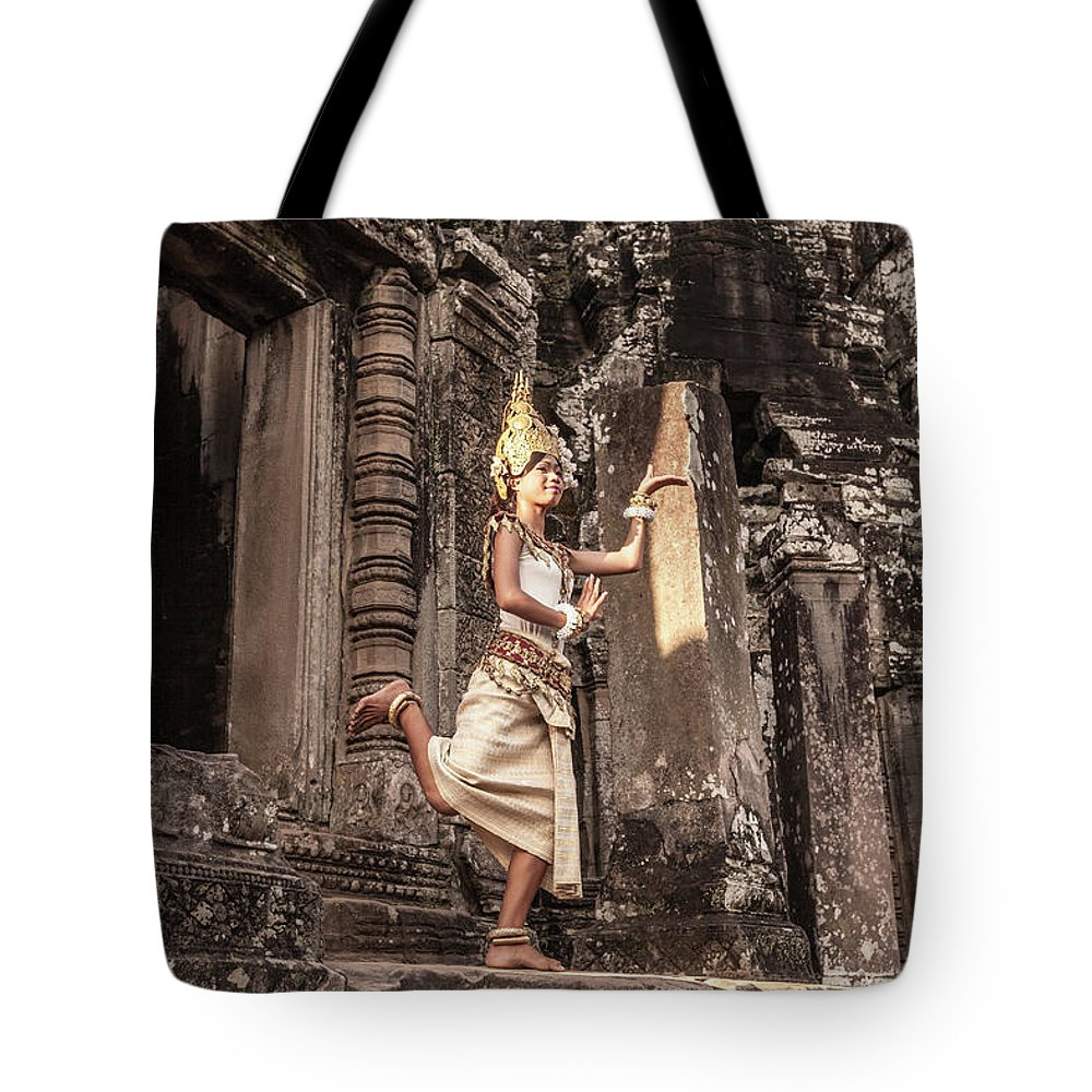 Hinduism Tote Bag featuring the photograph Female Apsara Dancer, Standing On One by Cultura Exclusive/gary Latham