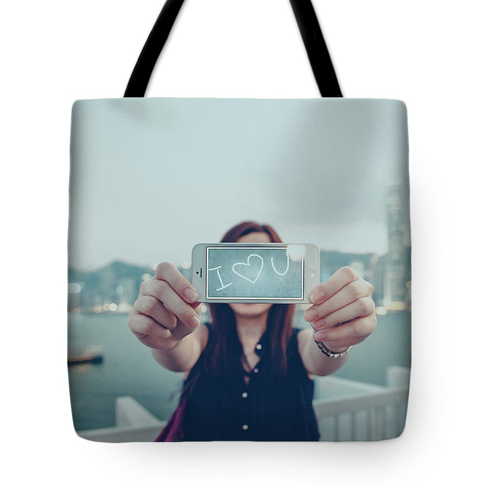 People Tote Bag featuring the photograph Female Is Saying I Love You With Her by D3sign