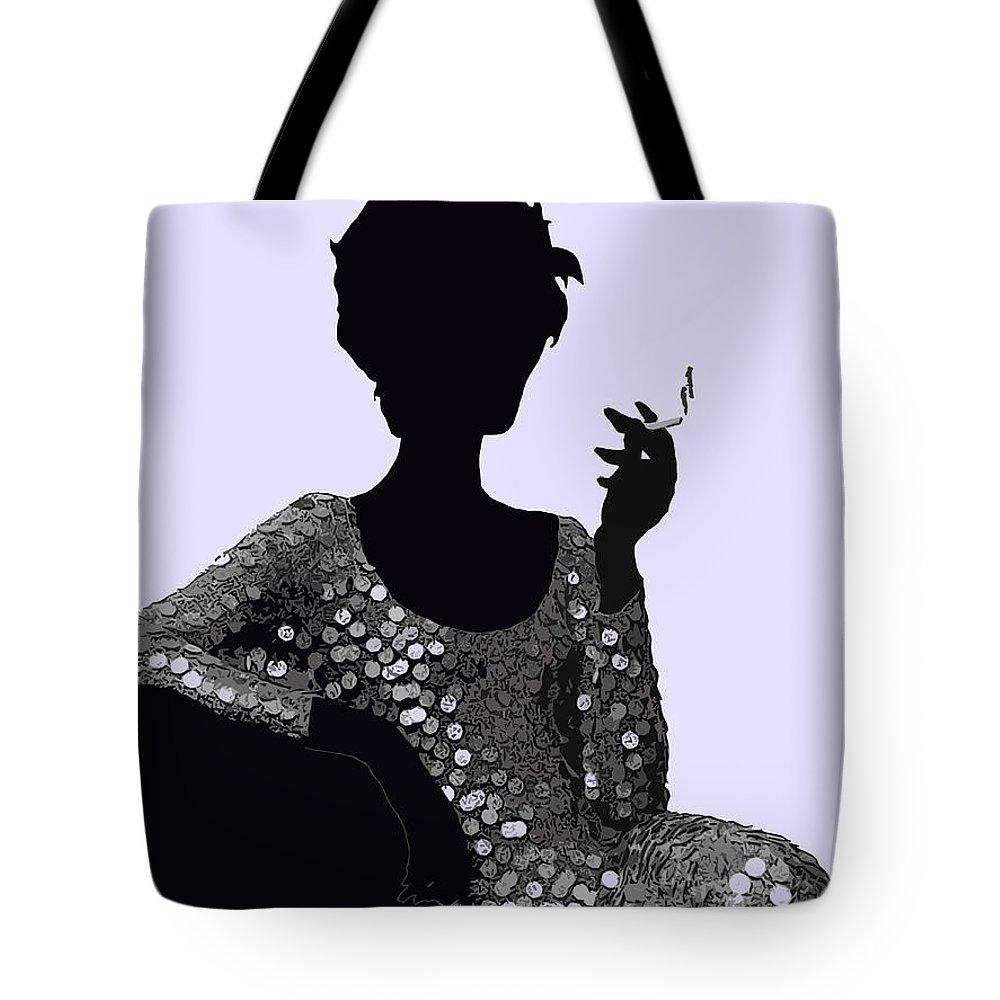 Femme Fatale C 1960 Shaken Not Stirred Tote Bag featuring the painting Femme Fatale C1960 Shaken Not Stirred by Saundra Myles