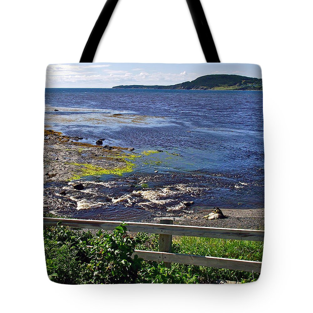 Fence Along Rocky Harbour In Gros Morne Np Tote Bag featuring the photograph Fence Along Rocky Harbour-nl by Ruth Hager