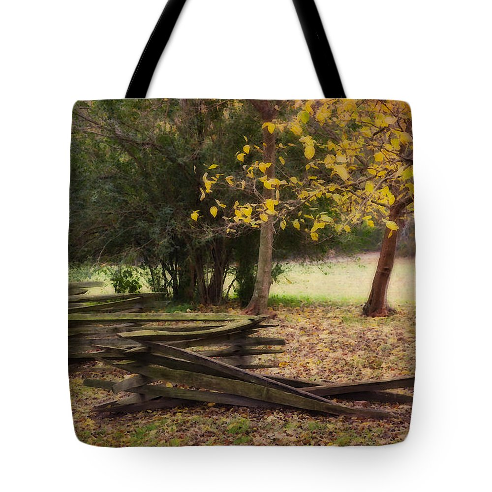 Fence Tote Bag featuring the photograph Fence And Tree In Autumn by Amy Jackson