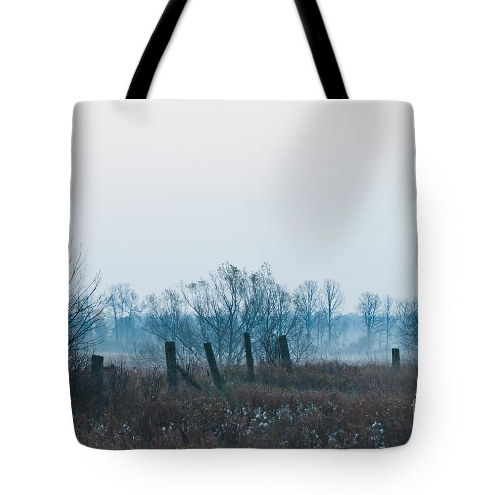Landscapes Tote Bag featuring the photograph Fence In The Fog by Cheryl Baxter