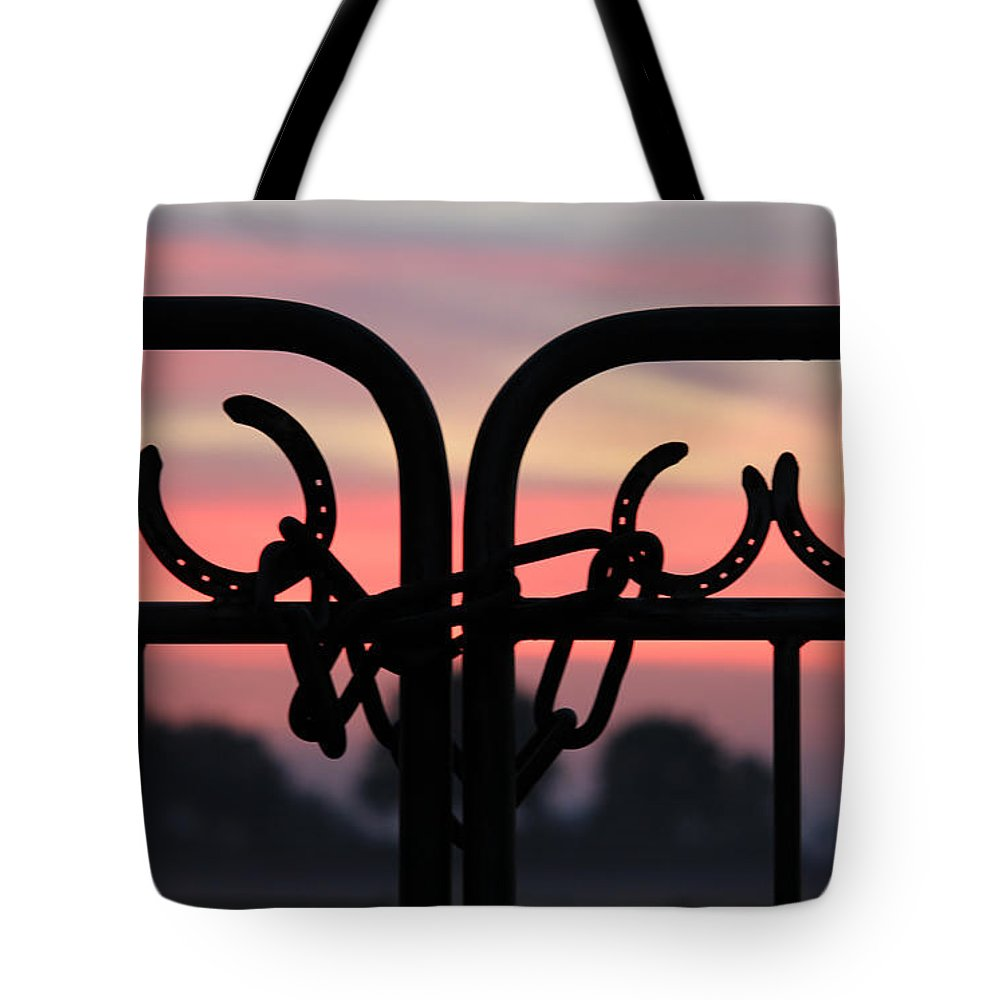Sunrise Tote Bag featuring the painting Fence Of Luck by Four Hands Art