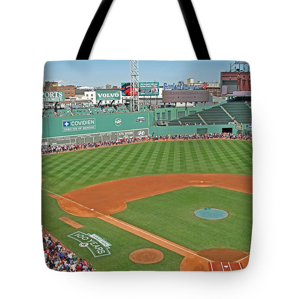 Fenway Park Tote Bag featuring the photograph Fenway One Hundred Years by Barbara McDevitt