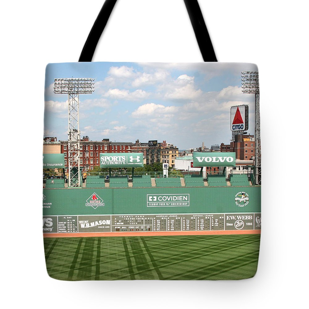 Mass Tote Bag featuring the photograph Fenway Park Green Monster 1 by Kathy Hutchins